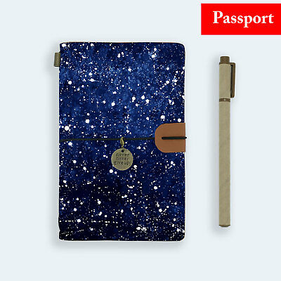 Genuine Leather Journal Travel Diary Travelers Passport Size Starry Galaxy