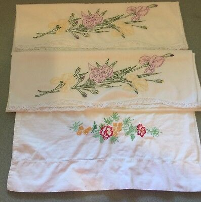 Vintage Embroidered Pillowcases Mixed Lot Of 3 Shabby Chic Cutters Crafts AS IS