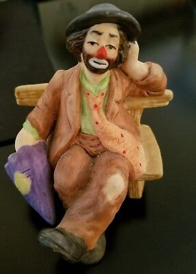 Emmett Kelly Jr Flambro Collection Clown Sitting On Park Bench With Umbrella