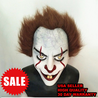 2017 Stephen King's It Mask Pennywise Clown Cosplay Halloween Costume US Seller