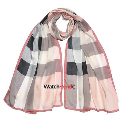 Burberry Lightweight Check Silk Scarf - Ash Rose