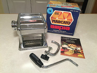 NEW IN BOX Vintage MARCATO AMPIA #110 Chrome Hand-Crank Pasta Noodle Maker ITALY