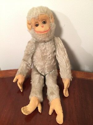 """Antique Schuco 13"""" Gray Mohair Monkey Moving Yes/No Stuffed Toy Steiff Posable"""