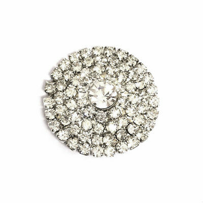 MYO Browband Supplies -  Crystal & Silver BLING Centre Buttons - 25mm - PAIR