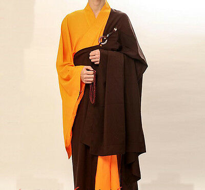 Coffee Zen Buddhist Monk Robe Lay Master Cassock Meditation Gown Loose Unisex @1