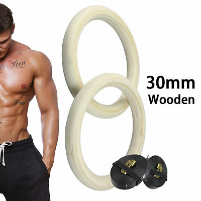 Wooden Olympic Gymnastic Gym Fitness Training Exercise Ring Strength Training AU