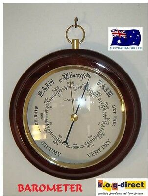 Barometer  * Cambridge *  Wood Piano Finish With Gold Trimings (A)