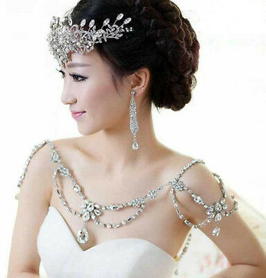 Bride Rhinestone Crystal Wedding Bridal Shoulder Chain Bridal Necklace
