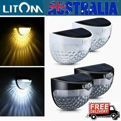 【1/2PACK】 Litom LED Solar Powered Fence Wall Light Outdoor Garden Security Lamps