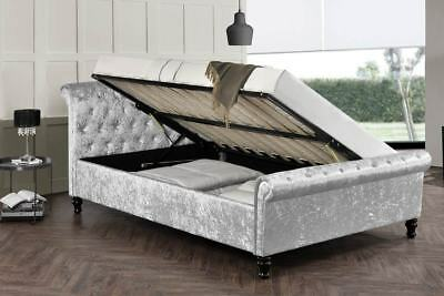 Silver Crushed Velvet Ottoman Storage Sleigh Bed Double King Size Luxury