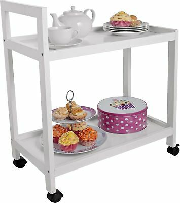 2 Tier Tea Service Trolley Catering White Shelves Transport Food Plates Drinks