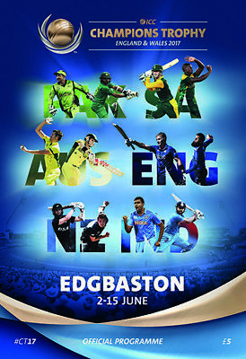 2017 Icc Champions Trophy- Edgbaston Group Games Programme