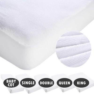 Waterproof Cotton Terry Mattress Protector Cover Towelling Fully Fitted White