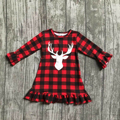 2017 Christmas Baby Girls Kids Long Sleeve Dress Outfit Clothes Dresses UK STOCK