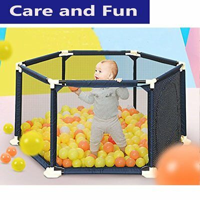 Play Yard Safety Gate Playpen Kids Infant Baby Door Fence Panel In Out Door OY