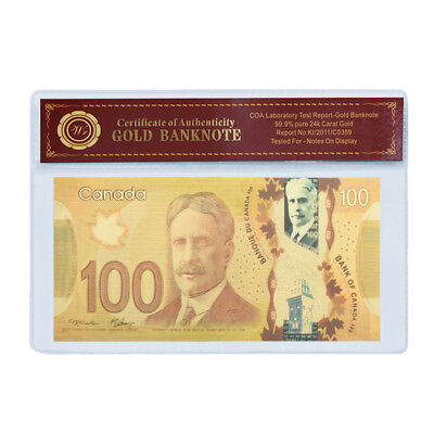 WR 24K Canada $100 Dollar Gold Foil Banknotes 2011 Polymer Note Bill /w COA PACK