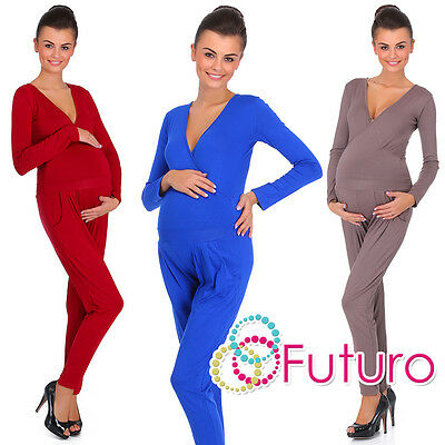 Ladies Maternity Wrap Jumpsuit With Pockets V Neck Playsuit Sizes 8-18 FM16