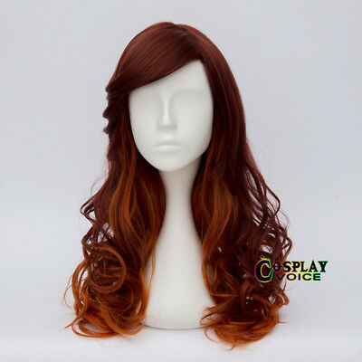 55CM Ombre Lolita Women Orange Brown Long Curly Synthetic Harajuku Cosplay Wig