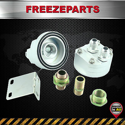 Universal 8-AN8 Cooler Sandwich Plate Adapter + Oil Filter Relocation Kit Silver