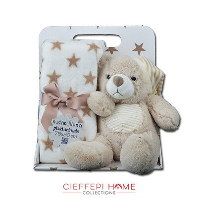 Plaid Bimbo Baby Animals con peluche art. ORSO  - Cieffepi Home Collections