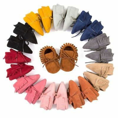Newborn Baby Boy Girl Soft PU Leather Shoes Moccasin Tassel Slip On Prewalkers