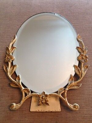 VINTAGE Art Deco Style 1950s Bevelled Edge Oval Mirror w/Toleware Decoration