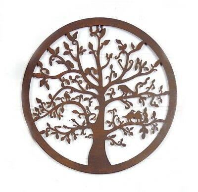 Tree of Life Wall Art Rusty Hanging Metal Rust Iron Sculpture Garden 60cm