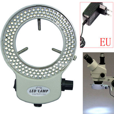 144LED Adjustable Ring Light Illuminator for Stereo Microscope White EU Plug NEW