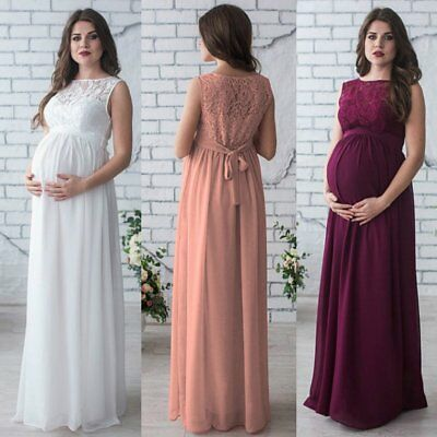 Lace Prom Gown Maternity Maxi Dress Wedding Party Dress Photography Prop Clothes