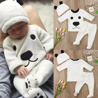 UK Newborn Baby Girls Boys Long Sleeve Top Pants Hat Outfits Set Fluffy Clothes