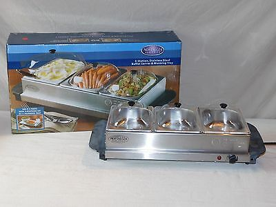 Nostalgia Electrics Stainless Steel 3 Station Buffet Server & Warming Tray