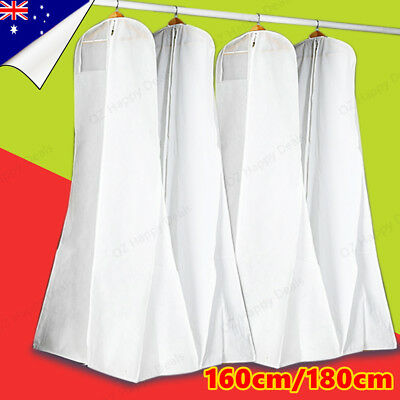 White Wedding Dress Bag Bridal Gown Garment Storage Protector Dustproof Cover
