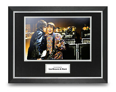 Ian Brown & Mani Signed 16x12 Framed Photo Display Music Autograph Memorabilia