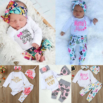 4PCS Newborn Infant Baby Girl Romper Tops+Long Pants+Hat+Headband Outfit Clothes