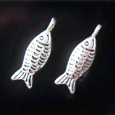 5 Pieces 19*6mm Lover Fish Charms Tibetan Silver Metal DIY jewelry Charm 7709F