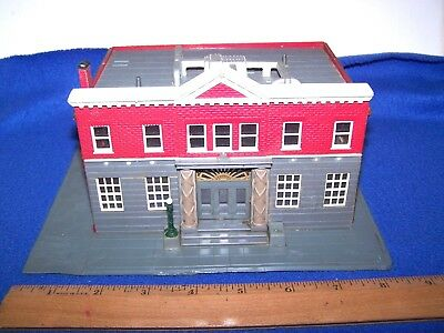 """Vintage Ho Scale Red & Gray Bank Building From Kit Assembled 6 1/4"""" X 4 3/4"""""""