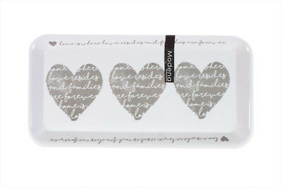 Small Melamine Kitchen Tea Coffee Sugar Serving Tray 33cm x 16cm Heart Design