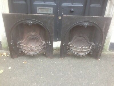 Rare Pair Ornate Victorian Arch Back Cast Iron Inserts 1880S Kite Marked Rare