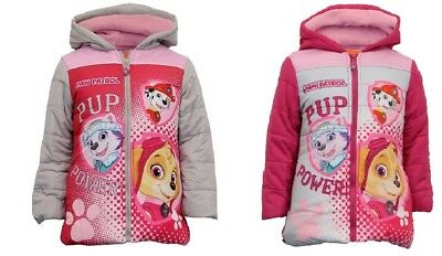 Girls School Winter Paw Patrol Skye Coat Puffa Padded Jacket Fleece Hooded New