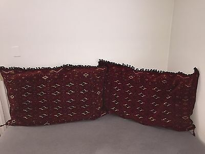 "Pair of HUGE Mid Century Persian Pillows 50"" x 30"" - Antique Rug MCM Lot Set 2"