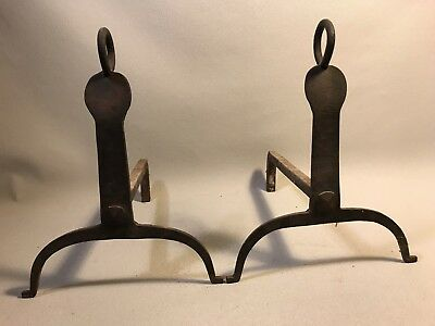 Antique Early American Colonial Period Andirons Fireplace Hearth Tool Wood Fire