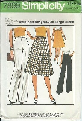 Vintage Plus Size Skirt & Pants Sewing Pattern size 40 42 44  46 Simplicity 7899