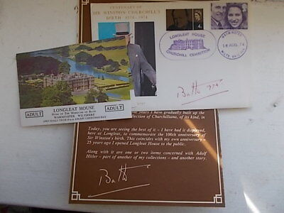 1975 GB Churchill Exhibition Longleat Official Cover SIGNED *LORD BATH*