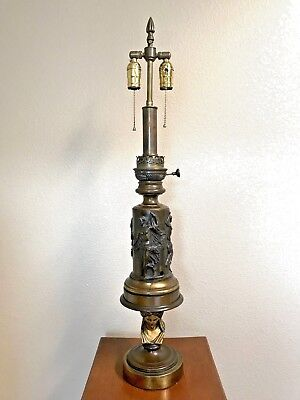 Signed Barbedienne 1870 French Bronze and Brass Moderator Lamp Gilt Bronze Bust