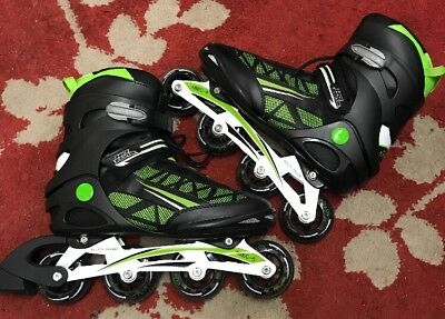 UK Size 10 No Fear Black & Green Mix Inline Roller Skates With Alloy Frame