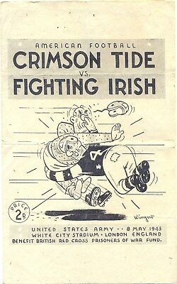 AMERICAN FOOTBALL PROGRAMME 8 MAY 1943 UNITED STATES ARMY CRIMSON TIDE v IRISH