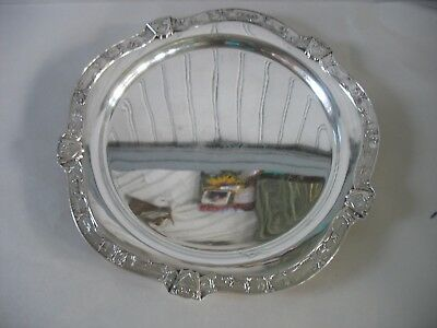 "Poole Silver Plate Tray Platter 13 1/2"" Frieze border Asian Water Sailboats"