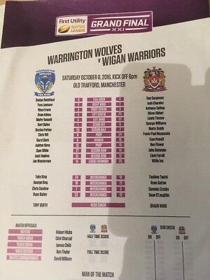 4 Super league Grand final Teamsheets, 2010, 11, 16, 17.
