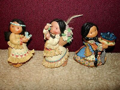 LOT of 2 cute ENESCO Friends of the Feather Maidens with birds, flowers, SWEET!