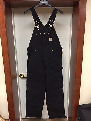 Carhartt Quilt Lined Insulated Bib Overalls Black #r02